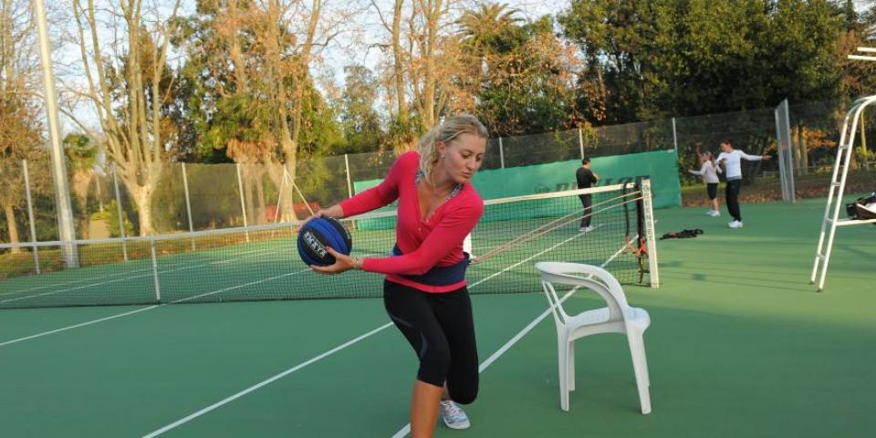 Kristina Mladenovic à l'échauffement